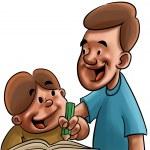 vader en zoon studeren — Stockfoto