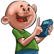 The boy ande the calculator - Stock Photo