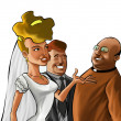 The couple and the preacher — Stock Photo