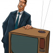 The tv sells man — Foto Stock
