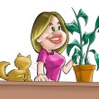The girl, cat and plant — Stock Photo