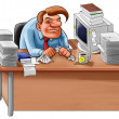 Foto Stock: Desk in mess