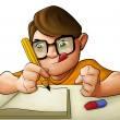 Homework young boy — Stockfoto