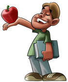 Student and red apple — Foto de Stock