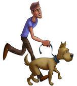 мальчик, прогулки с собакой — Стоковое фото