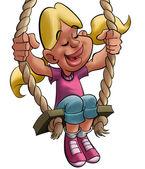Girl enjoying a balance — Stock Photo