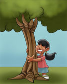 A young girl huging a young tree — Stock Photo