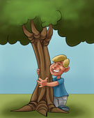 A young boy huging a young tree — Stock Photo