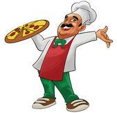 šťastný pizzaiolo — Stock fotografie