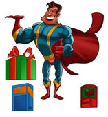 Super hero with products — Stockfoto