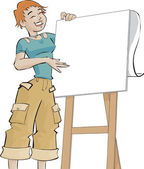 Girl and a flip chart — Stock Photo