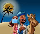 Odalisque and Sheik on the desert — Stock Photo