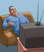 一名男子在看电视 — 图库照片