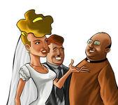 Paret och predikanten — Stockfoto