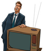 The tv sells man — Stock Photo