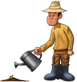 Farmer sprinkle a plant — Stock Photo