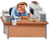 Skrivbord i en enda röra — Stockfoto