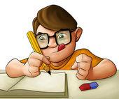 Huiswerk jonge jongen — Stockfoto