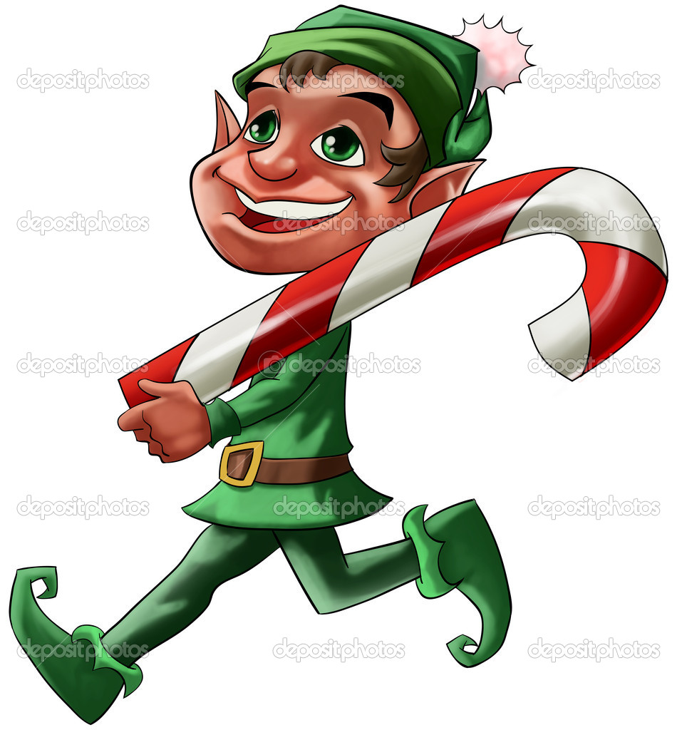 Smiling Christmas elf walking with a big candy  Stock Photo #5815866