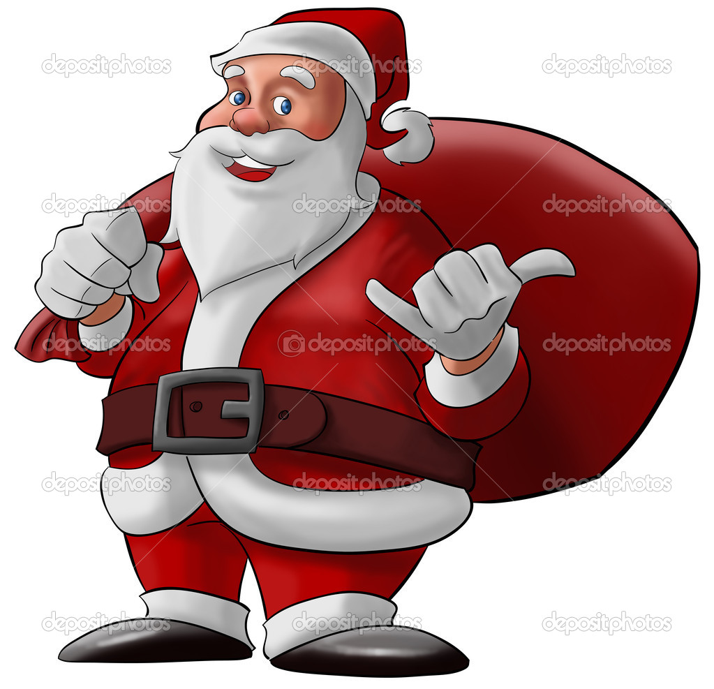 Santa claus doing a hang loose and smiling with his bag  Stock Photo #5816484