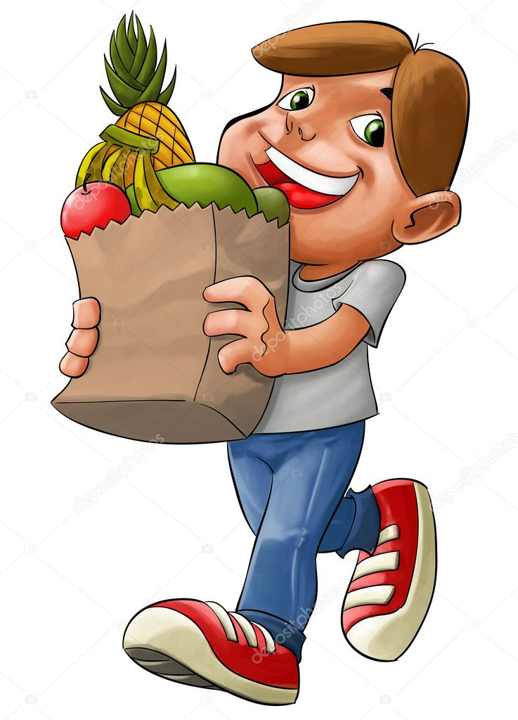 Boy with a sack with some products from supermarket  Stock Photo #5818851
