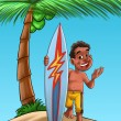 Boy with surf board — ストック写真