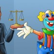 Clown and lawyer — 图库照片