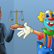 Stock Photo: Clown and lawyer