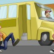 Stock Photo: Little boy and schoolbus