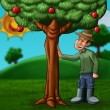The farmer and the tree - Stock Photo