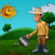 The farmer and the plant — Stock Photo