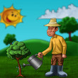 The farmer and the plant — Stockfoto