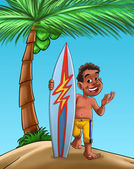 Boy with surf board — Stock Photo
