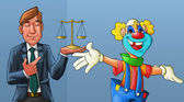 Clown and lawyer — Stock Photo