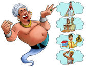 Smilley genie desires — Stockfoto