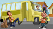 Little boy and schoolbus — Stockfoto