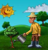 L'agriculteur et l'usine — Photo