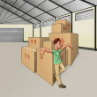 Man in the warehouse — Foto Stock
