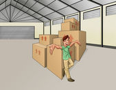 Man in the warehouse — Stock Photo