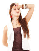 Young woman and headache — Stock Photo