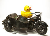 Rubberduck on Motorbike — Stock Photo