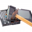 Notebook crash from hammer — Stock Photo