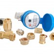 Water meter and inlet valve — Stock Photo