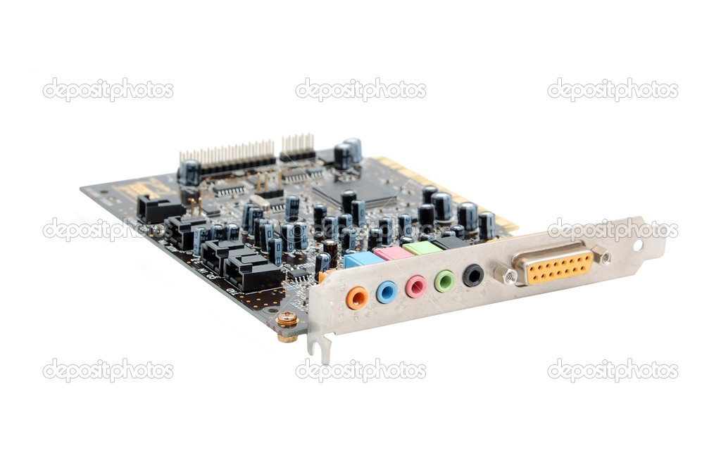 Sound card for computer, isolated on white background — Stock Photo #5820738