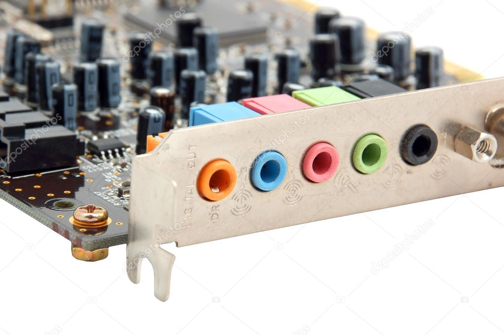 Sound card for computer, isolated on white background — Stock Photo #5820739