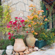 Flowerbed on medieval street of Jerusalem — Stock Photo