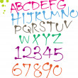 Stock vektor: Colorful Round pen font