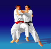 Judo fighters — Vettoriale Stock