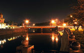 Night panorama of The Lopansky bridge in Kharkov — Stock Photo