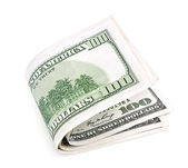 Three bended banknotes of one hundred dollars — Stock Photo